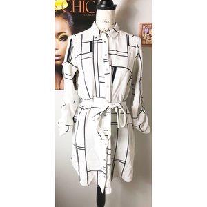River Island Grid Belted Shirt Dress